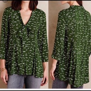 Anthropologie Maeve green button up blouse
